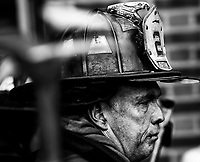 Rescue Company 2 Lieutenant Bill Murphy after operating at a all hands fire at 644 Rockaway Parkway on Monday,February, 12.