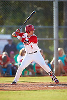 Ohio State Buckeyes third baseman Brady Cherry (1) at bat during a game against the Illinois State Redbirds on March 5, 2016 at North Charlotte Regional Park in Port Charlotte, Florida.  Illinois State defeated Ohio State 5-4.  (Mike Janes/Four Seam Images)