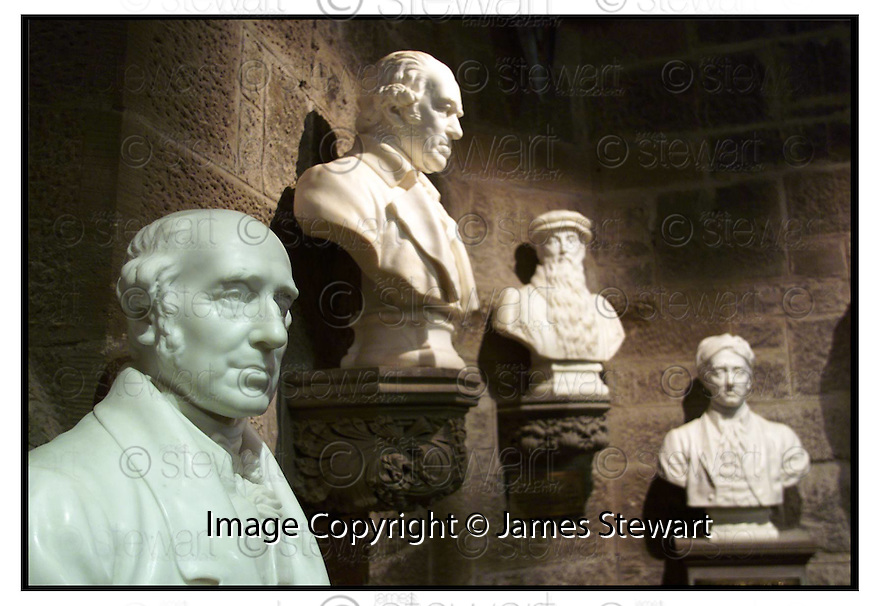 17th April 2000         Copyright Pic : James Stewart .Ref :                           .File Name : stewart10-wallaces monument                        .THE BUSTS OF WILLIAM MURDOCH, JAMES WATT, JOHN KNOX AND ALAN RAMSAY RECENTLY RESTORED AT THE WALLACE MONUMENT....(see copy from George Mair / Tim Bugler).Payments to :-.James Stewart Photo Agency, Stewart House, Stewart Road, Falkirk. FK2 7AS      Vat Reg No. 607 6932 25.Office : 01324 630007        Mobile : 0421 416997.E-mail : jim@jspa.co.uk.           : jim@jamesstewart.co.uk.If you require further information then contact Jim Stewart on any of the numbers above.........