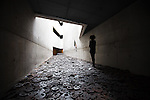 The Installation »Shalechet«, »Fallen leaves«, by Menashe Kadishman in one of the Voids of the Jewish Museum.