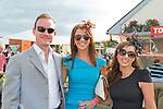 Paul Heffernan, Veronica Burns and Sinead Desmond at the Bellewstown Races...Picture: Shane Maguire / www.newsfile.ie.