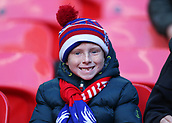 5th November 2017, Wembley Stadium, London England; EPL Premier League football, Tottenham Hotspur versus Crystal Palace; Young Crystal Palace fan wrapped up warm posing from inside Wembley Stadium before kick off
