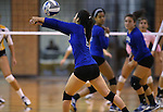 Marymount's Courtney Phung passes in a college volleyball game in Lexington Park, MD, on Wednesday, Oct. 29, 2014. Marymount won 3-2 to go 24-9 on the season.<br /> Photo by Cathleen Allison