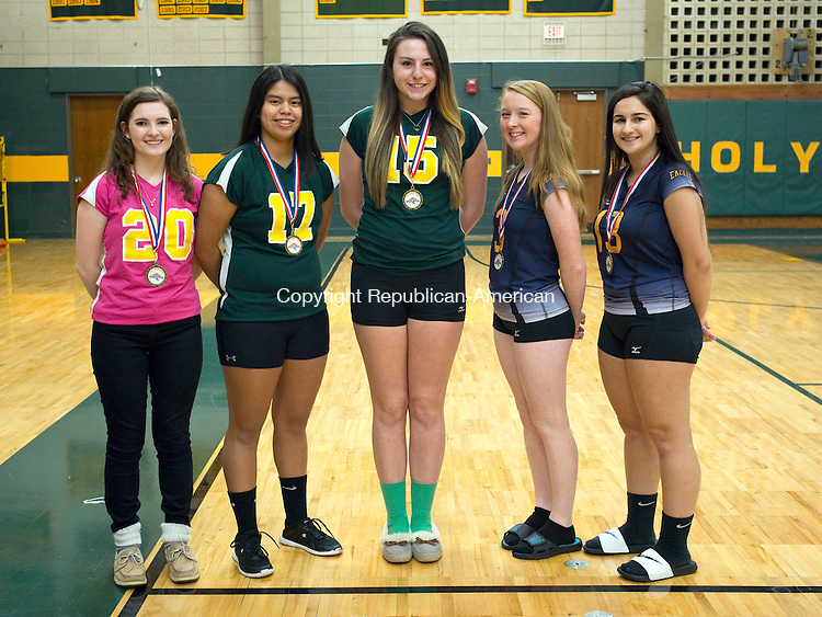 Waterbury, CT- 24 November 2015-112415CM04-  ALL Brass from left to right: Holy Cross' Jacquelyn Brouillette, Gabrielle Goldman, Caitlyn Cipriano; Kennedy's Carson Delaney and Eleni Tsetso.  Missing from photo: Crosby's Ana Lala and Destin Trammell.   Christopher Massa Republican-American