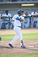 Keibert Ruiz (10) of the Rancho Cucamonga Quakes bats against the Stockton Ports at Loan Mart Field on July 16, 2017 in Rancho Cucamonga, California. Rancho Cucamonga defeated Stockton 9-1. (Larry Goren/Four Seam Images)