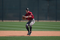 Arizona Diamondbacks shortstop Camden Duzenack (3) prepares to make a throw to first base during Spring Training Camp at Salt River Fields at Talking Stick on March 12, 2018 in Scottsdale, Arizona. (Zachary Lucy/Four Seam Images)