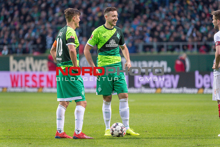 10.02.2019, Weser Stadion, Bremen, GER, 1.FBL, Werder Bremen vs FC Augsburg, <br /> <br /> DFL REGULATIONS PROHIBIT ANY USE OF PHOTOGRAPHS AS IMAGE SEQUENCES AND/OR QUASI-VIDEO.<br /> <br />  im Bild<br /> <br /> Freistoss Kevin M&ouml;hwald / Moehwald (Werder Bremen #06)<br /> Max Kruse (Werder Bremen #10)<br /> <br /> <br /> Foto &copy; nordphoto / Kokenge
