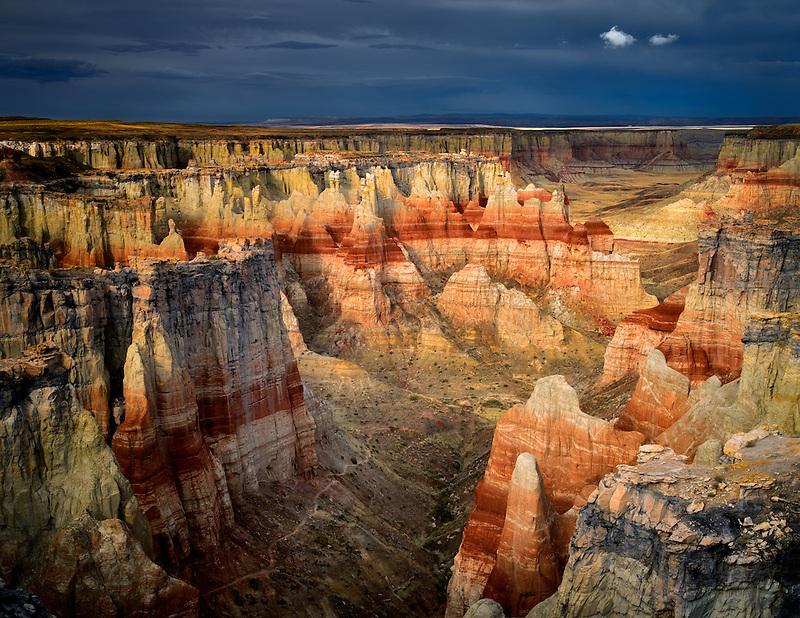 Coal Mine Canyon with rain clouds, Arizona