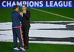 Gary Neville (R) head coach of Valencia CF and his brother Phil Neville assistant manager talks on the pitch prior to the game - UEFA Champions League Group H - Valencia CF vs Olympique Lyonnais - Mestalla Stadium - Valencia- Spain - 09th December 2015 - Pic David Aliaga/Sportimage