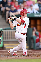 Springfield Cardinals catcher Cody Stanley (21) at bat during a game against the Frisco Rough Riders on June 1, 2014 at Hammons Field in Springfield, Missouri.  Springfield defeated Frisco 3-2.  (Mike Janes/Four Seam Images)