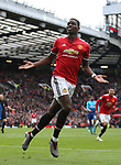 Paul Pogba of Manchester United celebrates scoring the first goal during the premier league match at the Old Trafford Stadium, Manchester. Picture date 29th April 2018. Picture credit should read: Simon Bellis/Sportimage