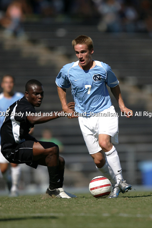 11 September 2005: Scott Campbell. The University of North Carolina Tarheels defeated the University of South Carolina Gamecocks 2-0 in an NCAA Divison I men's soccer game at Fetzer Field in Chapel Hill, NC.