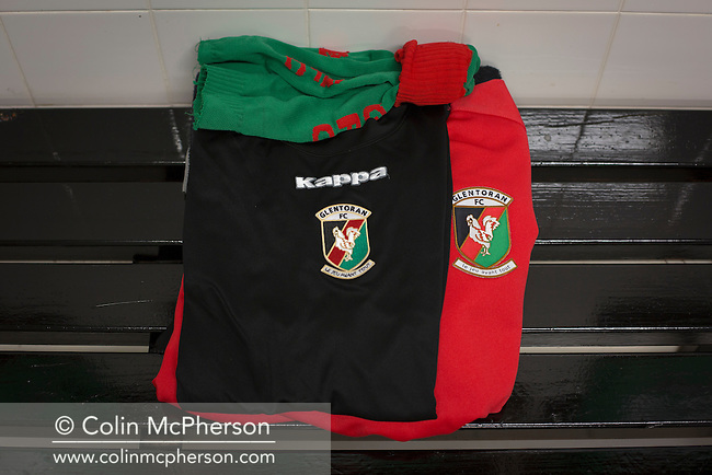 Socks and shorts in the home dressing room at The Oval, Belfast, pictured before Glentoran hosted city-rivals Cliftonville in an NIFL Premiership match. Glentoran, formed in 1892, have been based at The Oval since their formation and are historically one of Northern Ireland's 'big two' football clubs. They had an unprecendentally bad start to the 2016-17 league campaign, but came from behind to win this fixture 2-1, watched by a crowd of 1872.