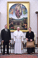 Pope Francis and Tonga's King Ahoeitu Unuakiotonga Tukuaho Tupou VI during a private audience at the Vatican, on February 16, 2015.
