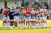 The Bath Rugby team huddle together during the pre-match warm-up. Pre-season friendly match, between Yorkshire Carnegie and Bath Rugby on August 13, 2016 at Ilkley RFC in Ilkley, England. Photo by: Ian Smith / Onside Images