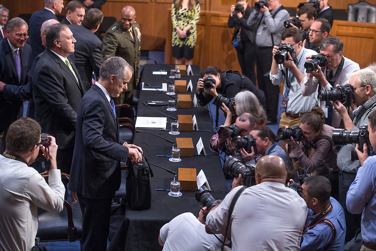 "UNITED STATES - MAY 11: Acting FBI Director Andrew McCabe, end of table, arrives for a Senate (Select) Intelligence Committee hearing in Hart Building titled ""World Wide Threats"" on May 11, 2017. (Photo By Tom Williams/CQ Roll Call)"