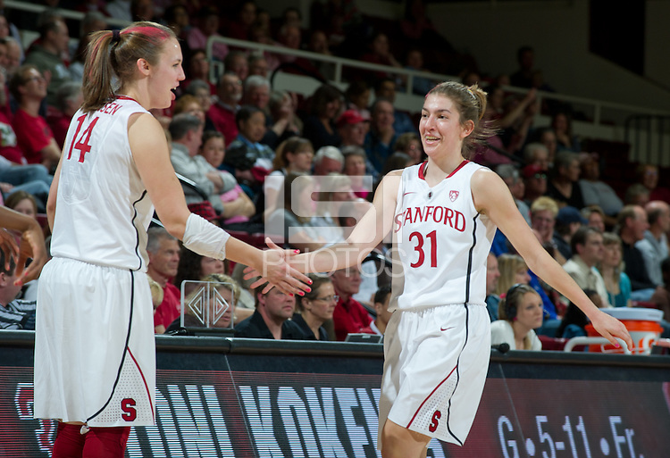 STANFORD, CA - February  10, 2011: Stanford Cardinal's Toni Kokenis and Kayla Pedersen  during the Stanford 100-59 win over Washington State at Maples Pavilion in Stanford, California.