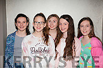 Teen Glam<br /> ---------------<br /> Having fun at the Ghaelcholaist Chiarrai,Moyderwell,Tralee,fashion show last Wednesday night in the Ashe hotel,Tralee were,L-R Sorcha Rhineland,Alex Kelly,Sarah Cleary,Tara Collins and Lorraine Lyne