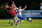 2015-11-01 / Voetbal / seizoen 2015-2016 / Zwijndrecht - 's Gravenwezel-Schilde / Maarten Ilegems (Zwijndrecht) blokt het schot van Oscar Coppieters<br /><br />Foto: Mpics.be
