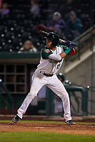 Fort Wayne TinCaps second baseman Tucupita Marcano (15) during a Midwest League game against the Quad Cities River Bandits at Parkview Field on May 3, 2019 in Fort Wayne, Indiana. Quad Cities defeated Fort Wayne 4-3. (Zachary Lucy/Four Seam Images)