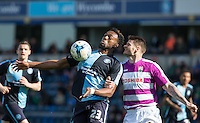 Gozie Ugwu of Wycombe Wanderers controls the ball during the Sky Bet League 2 match between Wycombe Wanderers and Barnet at Adams Park, High Wycombe, England on 16 April 2016. Photo by Andy Rowland.