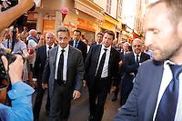 Nice le 15 Juillet 2016 Promenade des Anglais le lieu de l attentat perpÈtrer hier soir juste apres le feu d artifice du 14 Juillet devant la Cathedrale Sainte Reparate Vieux Nice arrive de Nicolas Sarkozy Christian Estrosi PrÈsident du conseil rÈgional de Provence-Alpes-CÙte d'Azur