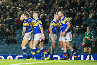 Picture by Allan McKenzie/SWpix.com - 08/02/2018 - Rugby League - Betfred Super League - Leeds Rhinos v Hull KR - Elland Road, Leeds, England - Leeds celebrate Adam Cuthbertson's try against Hull KR.
