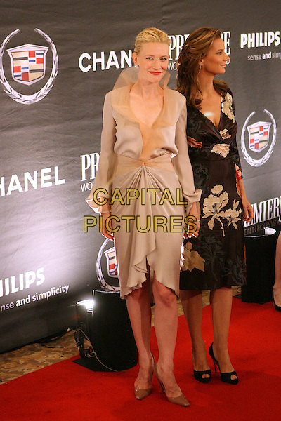 CATE BLANCHETT & RACHEL GRIFFITHS.The 13th Annual Premiere Women In Hollywood held at the Beverly Hills Hotel, Beverly Hills, California, USA..September 20th, 2006.Ref: ADM/ZL.full length black dress beige collar floral print satin.www.capitalpictures.com.sales@capitalpictures.com.©Zach Lipp/AdMedia/Capital Pictures.