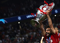 Liverpopol's Mohamed Salah celebrates with the trophy at the end of the UEFA Champions League final football match between Tottenham Hotspur and Liverpool at Madrid's Wanda Metropolitano Stadium, Spain, June 1, 2019. Liverpool won 2-0.<br /> UPDATE IMAGES PRESS/Isabella Bonotto