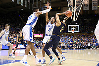 DUKE, NC - FEBRUARY 15: Javin DeLaurier #12 and Tre Jones #3 of Duke University guard Prentiss Hubb #3 of the University of Notre Dame during a game between Notre Dame and Duke at Cameron Indoor Stadium on February 15, 2020 in Duke, North Carolina.
