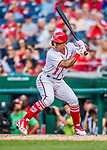 29 June 2017: Washington Nationals infielder Wilmer Difo pinch hits in the 9th inning against the Chicago Cubs at Nationals Park in Washington, DC. The Cubs rallied against the Nationals to win 5-4 and split their 4-game series. Mandatory Credit: Ed Wolfstein Photo *** RAW (NEF) Image File Available ***