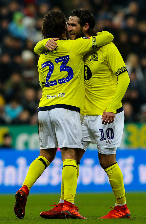 Blackburn Rovers' Bradley Dack celebrates scoring the opening goal with Danny Graham<br /> <br /> Photographer Alex Dodd/CameraSport<br /> <br /> Emirates FA Cup Third Round - Newcastle United v Blackburn Rovers - Saturday 5th January 2019 - St James' Park - Newcastle<br />  <br /> World Copyright © 2019 CameraSport. All rights reserved. 43 Linden Ave. Countesthorpe. Leicester. England. LE8 5PG - Tel: +44 (0) 116 277 4147 - admin@camerasport.com - www.camerasport.com