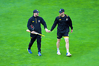 Wellington coach Glenn Pocknall and Wellington's Jimmy Neesham on day one of the Plunket Shield cricket match between the Wellington Firebirds and Otago Volts at Basin Reserve in Wellington, New Zealand on Monday, 21 October 2019. Photo: Dave Lintott / lintottphoto.co.nz
