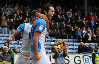 Blackburn Rovers' Lewis Travis celebrates scoring his side's first goal with team-mate Elliott Bennett<br /> <br /> Photographer Kevin Barnes/CameraSport<br /> <br /> The EFL Sky Bet Championship - Blackburn Rovers v Luton Town - Saturday 28th September 2019 - Ewood Park - Blackburn<br /> <br /> World Copyright © 2019 CameraSport. All rights reserved. 43 Linden Ave. Countesthorpe. Leicester. England. LE8 5PG - Tel: +44 (0) 116 277 4147 - admin@camerasport.com - www.camerasport.com