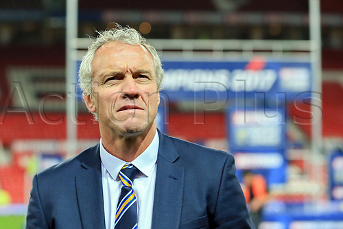 7th October 2017, Old Trafford, Manchester, England; Betfred Super League Grand Final, Castleford Tigers versus Leeds Rhinos; Brian McDermott head coach of Leeds Rhinos looks into the crowd as his team win the Grand Final