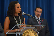 August 7, 2013  (Washington, DC) Janaye Ingram, D.C. Bureau Chief for the National Action Network, speaks during a news conference announcing plans for the 50th anniversary March on Washington. D.C. as Mayor Vincent Gray looks on.  (Photo by Don Baxter/Media Images International)