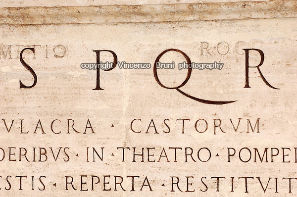 Rome, Italy: Latin inscription on marble in Piazza del Campidoglio.