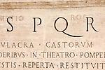 Rome, Italy: Latin inscription on marble in Piazza del Campidoglio.