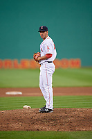 Salem Red Sox relief pitcher Jared Oliver (15) gets ready to deliver a pitch during the first game of a doubleheader against the Potomac Nationals on June 11, 2018 at Haley Toyota Field in Salem, Virginia.  Potomac defeated Salem 9-4.  (Mike Janes/Four Seam Images)