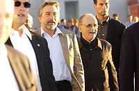 August 27 . 2002, Montreal, Quebec, Canada; <br /> <br /> <br /> Robert De Niro, Actor L) and<br /> Serge Losique, president, World Film Festival (R)<br /> arrive at the screening of Caton Jones movie ; CITY BY THE SEA, presented in competition at the 26th Montreal World Film Festival, August 27th 2002
