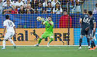 CARSON, CA - SEPTEMBER 29: GK Maxime Crepeau #16 of the Vancouver Whitecaps moves to the ball during a game between Vancouver Whitecaps and Los Angeles Galaxy at Dignity Health Sports Park on September 29, 2019 in Carson, California.