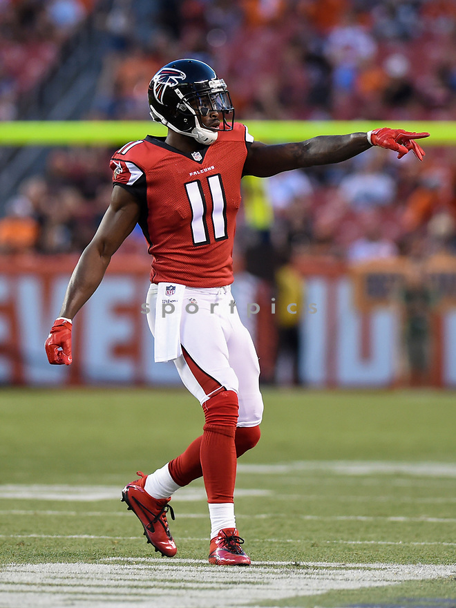 CLEVELAND, OH - AUGUST 18, 2016: Wide receiver Julio Jones #11 of the Atlanta Falcons points toward an official as he walks to his position in the first quarter of a preseason game on August 18, 2016 at FirstEnergy Stadium in Cleveland, Ohio. Atlanta won 24-13. (Photo by: 2016 Nick Cammett/Diamond Images) *** Local Caption *** Julio Jones