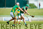 Mikey Boyle Ballyduff in action against Darragh Shanahan Lixnaw in the Kerry County Hurling Championship at Austin Stack Park Tralee on Sunday.