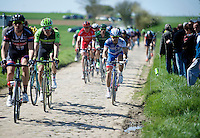 lot's of bidons fly out of their cages while the riders race over the cobble strokes, but no bidon did it as elegantly as this one<br /> <br /> 113th Paris-Roubaix 2015