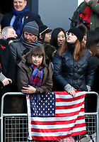 01 December 2017 - Wellwishers with a US flag line the street as they wait to greet Prince Harry and his fiancee US actress Meghan Markle when they arrive for a walkabout and an engagement at the Nottingham Contemporary in Nottingham, Nottinghamshire. Photo Credit: ALPR/AdMedia