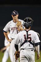 SAN ANTONIO, TX - MARCH 07, 2014: The Florida Atlantic University Owls versus the University of Texas at San Antonio Roadrunners Baseball at Roadrunner Field. (Photo by Jeff Huehn)