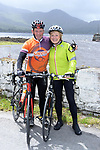 Husband &amp; Wife, Michael and Teresa O&quot;Sullivan from Sneem pictured at the half way break at Kilmackillogue Harbour in County Kerry whilst taking part in the annual Sneem Cycle, &ldquo;Wild Atlantic Challenge Charity Cycle&rdquo; in aid of Breakthrough Cancer Research at the weekend.<br /> Photo Don MacMonagle<br /> <br /> repro free photo<br /> Further info: Ann O'Sullivan ann@breakthroughcancerresearch.ie
