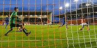 Blackpool's Viv Solomon-Otabor scores his side's first goal  <br /> <br /> Photographer Alex Dodd/CameraSport<br /> <br /> The EFL Sky Bet League One - Blackpool v Portsmouth - Saturday 11th November 2017 - Bloomfield Road - Blackpool<br /> <br /> World Copyright &copy; 2017 CameraSport. All rights reserved. 43 Linden Ave. Countesthorpe. Leicester. England. LE8 5PG - Tel: +44 (0) 116 277 4147 - admin@camerasport.com - www.camerasport.com