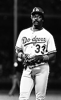 Eddie Murray of the Los Angeles Dodgers during a 1989 pre season game at Anaheim  Stadium in Anaheim,California.(Larry Goren/Four Seam Images)