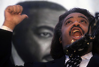 (0211205-SWR10.jpg) New York, NY - 4 April 94 - The Reverend Al Sharpton speaks at a rally to commerate the birthday of Dr. Martin Luther King jr.